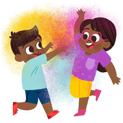 children-throwing-colored-powder