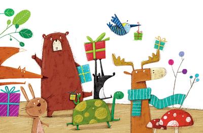 bear-bird-fox-rabbit-turtle-skunk-forest-present