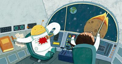 spaceship-robot-controls-planet-meteorite-astronaut