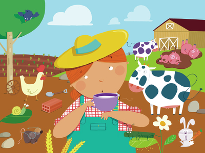 farm-woman-farmer-cow-pigs-milk-chicken