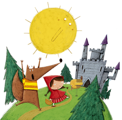sun-red-riding-hood-wolf-castle-forest-tree