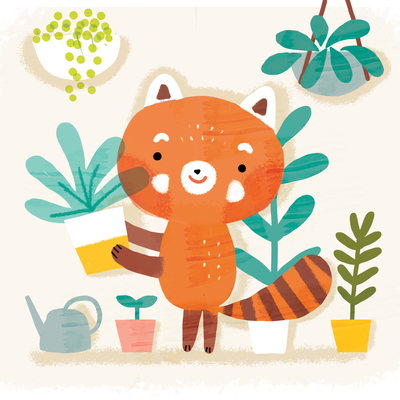 red-panda-with-plants