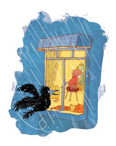 conversationswithroko-kidlitart-philosophy-crow-curiosity-rain-jpg