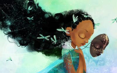 02-afro-girl-watercolor-black-hair-dragonfly-mask-dress-princess-jpg