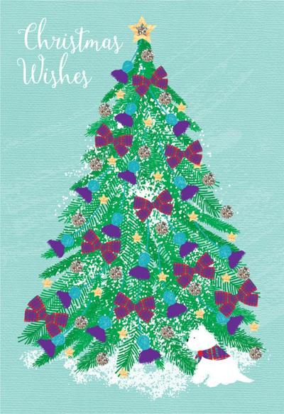 sp020-scottish-christmas-tree-with-tartan-bows-west-highland-terrier-westie-dog