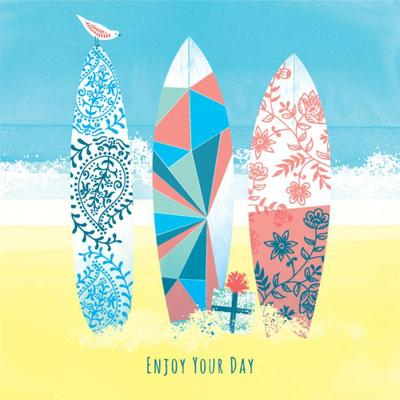 female-birthday-contemporary-girlfriend-patterned-surf-boards-on-beach