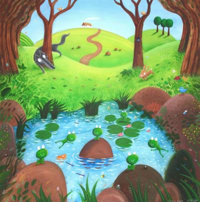 hospital-mural-wolf-mural-frog-rabbit-children-s-book-jpg