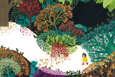 girl-forest-trees-plants-flowers-darkness-jpg