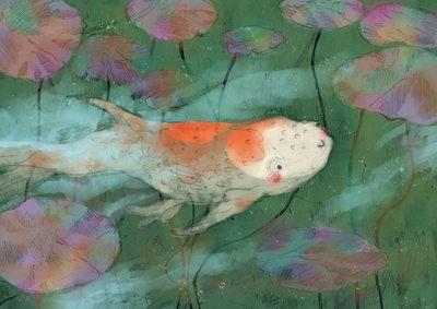 pond-water-peekaboo-goldfish-happy-lilypads-erinbrown-jpg